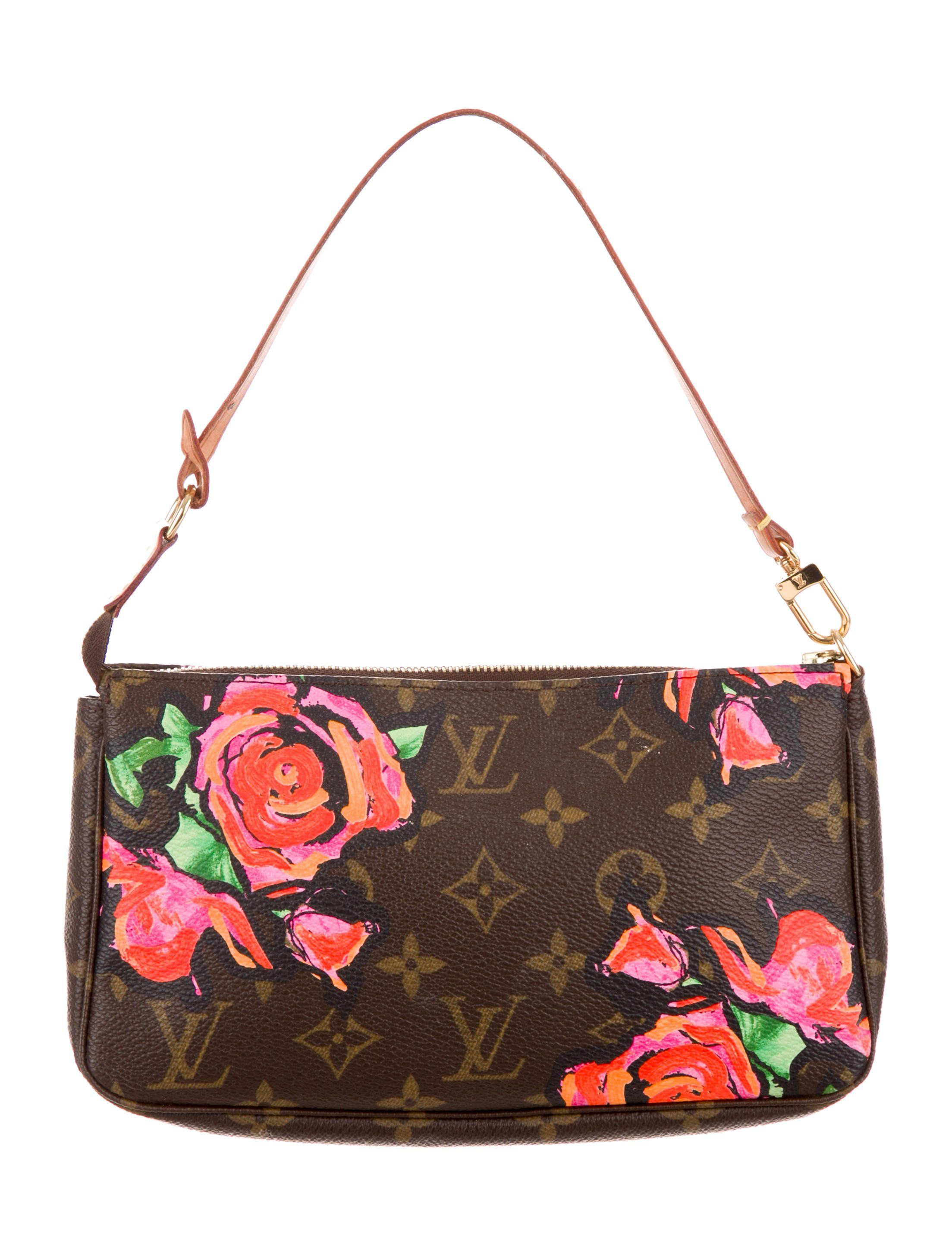 1eb657796659 From the Stephen Sprouse Collection. Brown and tan monogram coated canvas Louis  Vuitton Roses Pochette