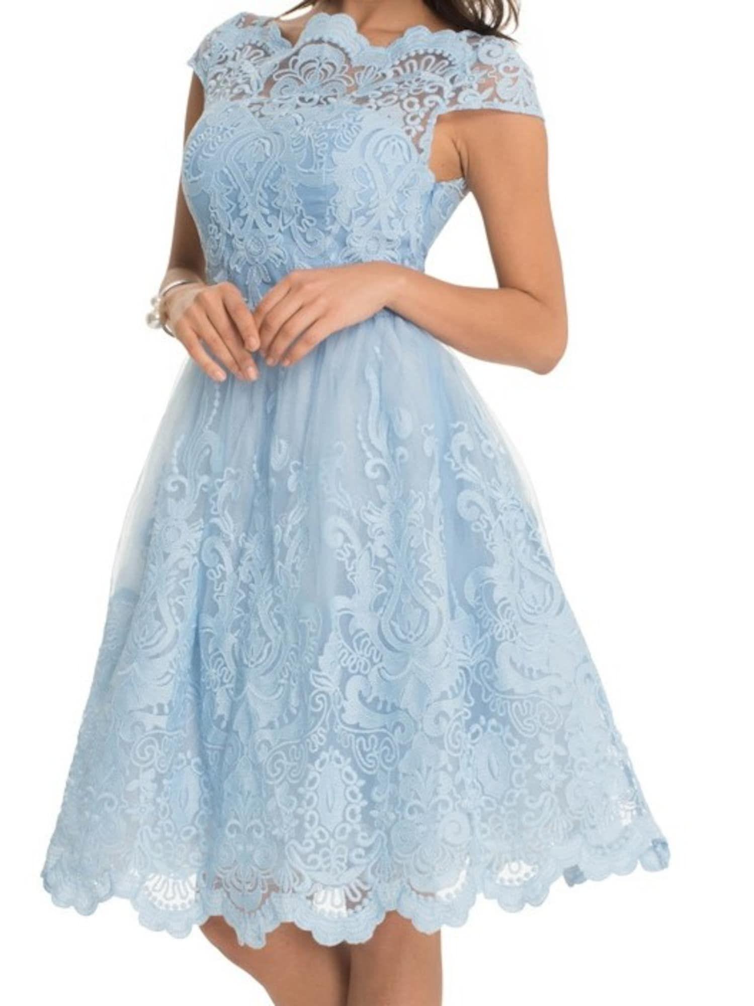 Chi Chi London Kleid Mit Schwingendem Rock Rhiannon Dress Damen Hellblau Grosse 38 Kleider Chi Chi London Kleid Und Cocktailkleid Spitze