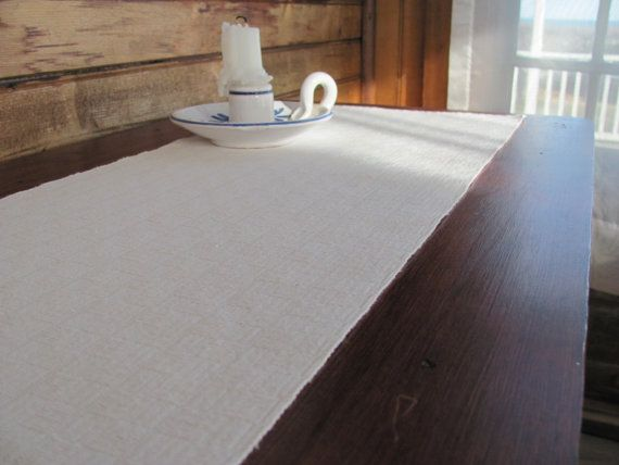 Table Runner Hand Woven White Cotton #Antique / #Vintage #ShabbyChic #Decor  By