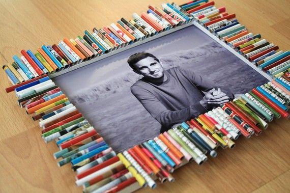 Recycled Magazine Frame 5 x 7 by GreenHornedUnicorn on Etsy