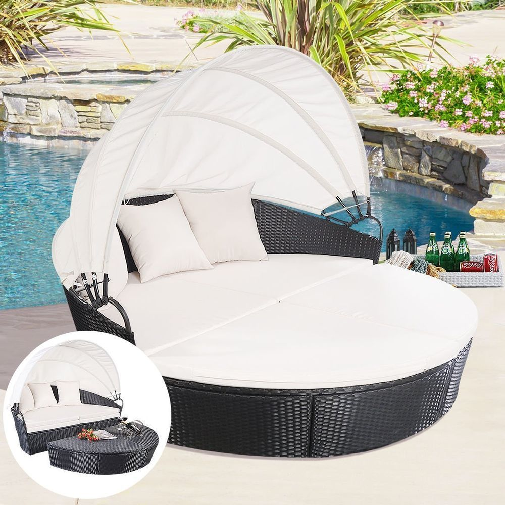 Exceptionnel Tangkula Outdoor Patio Sofa Furniture Round Retractable Canopy Daybed Black  Wick Rattan Material: PE,