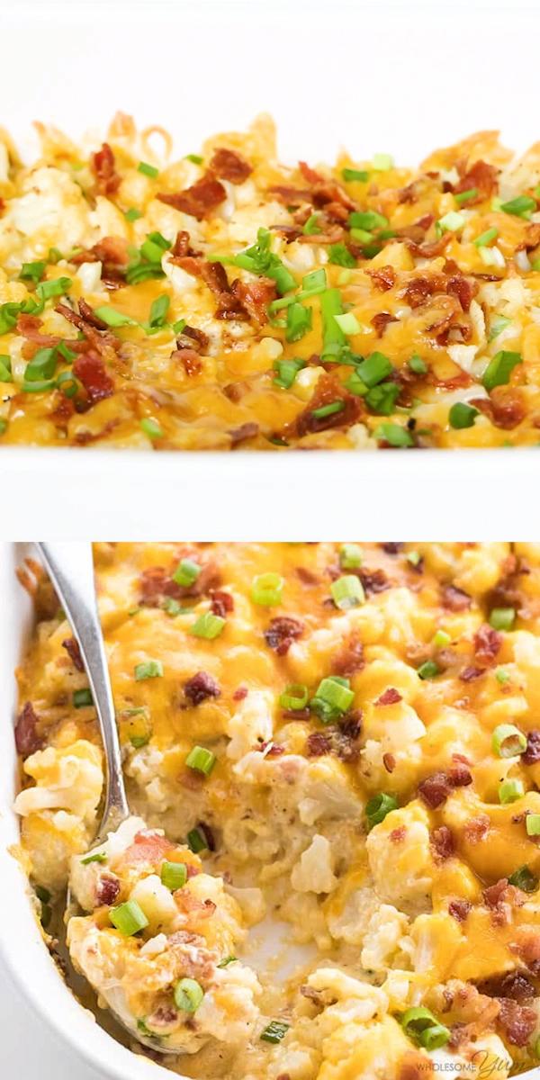 Easy Cheesy Loaded Cauliflower Casserole Recipe #loadedcauliflowerbake