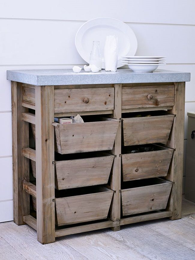 Free Standing Kitchen Storage Solutions Metal Topped Eight Drawers