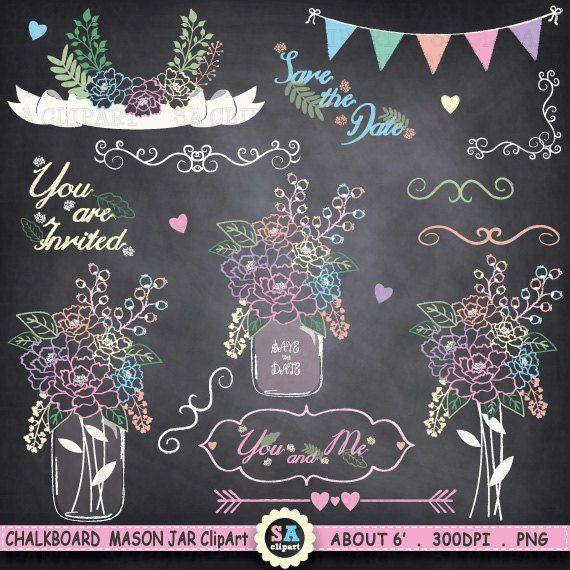 Chalkboard Mason Jar Clipart Wedding Vintage Flowers Hand Draw Fl Arrow Maso