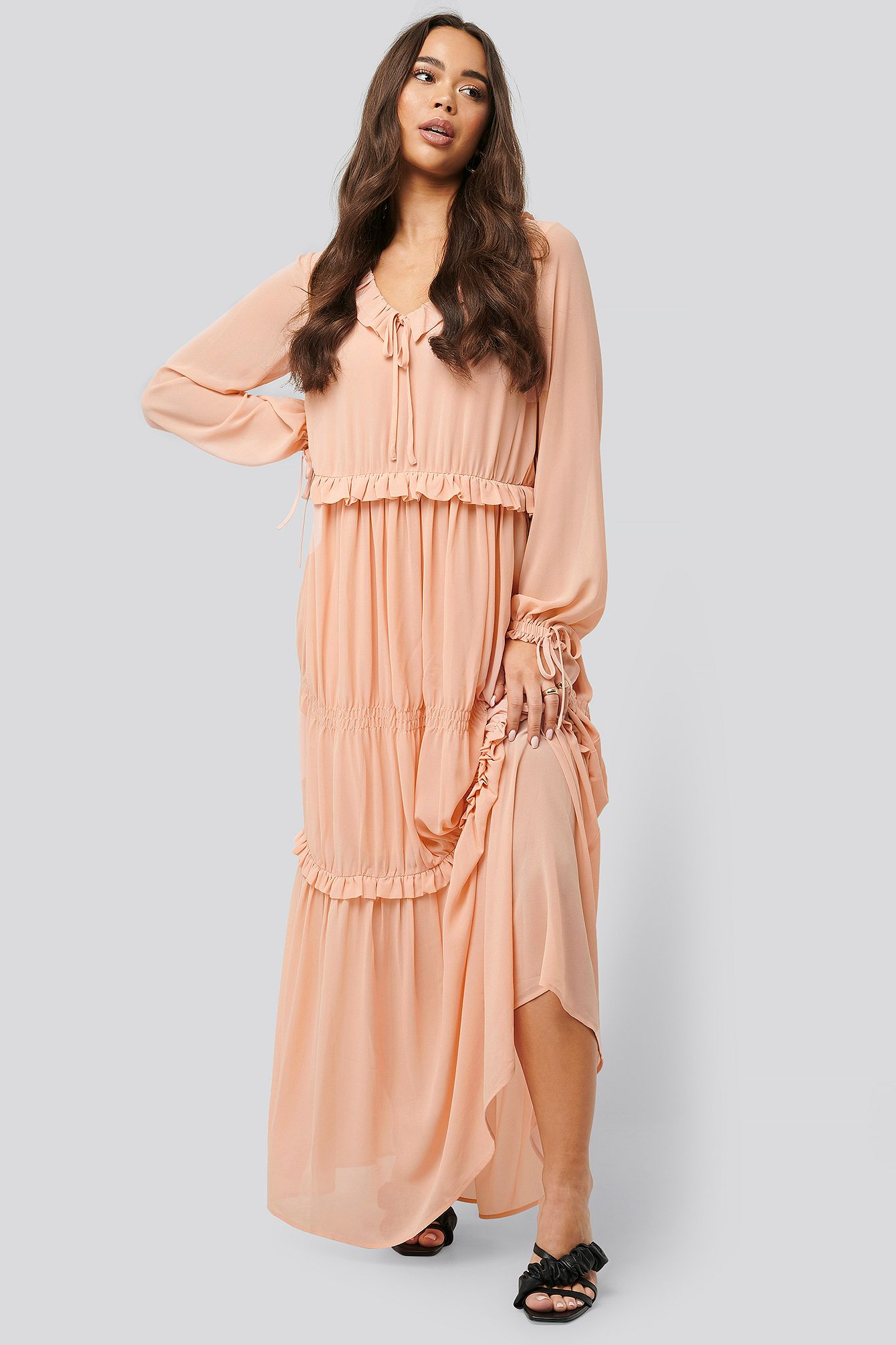 Multi Frill Flowy Dress Rosa