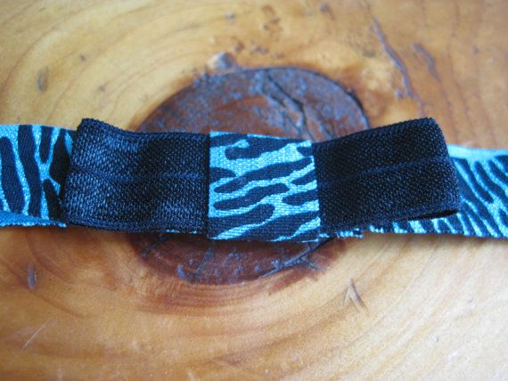 Neon Blue Zebra Print Bow Infant Headband