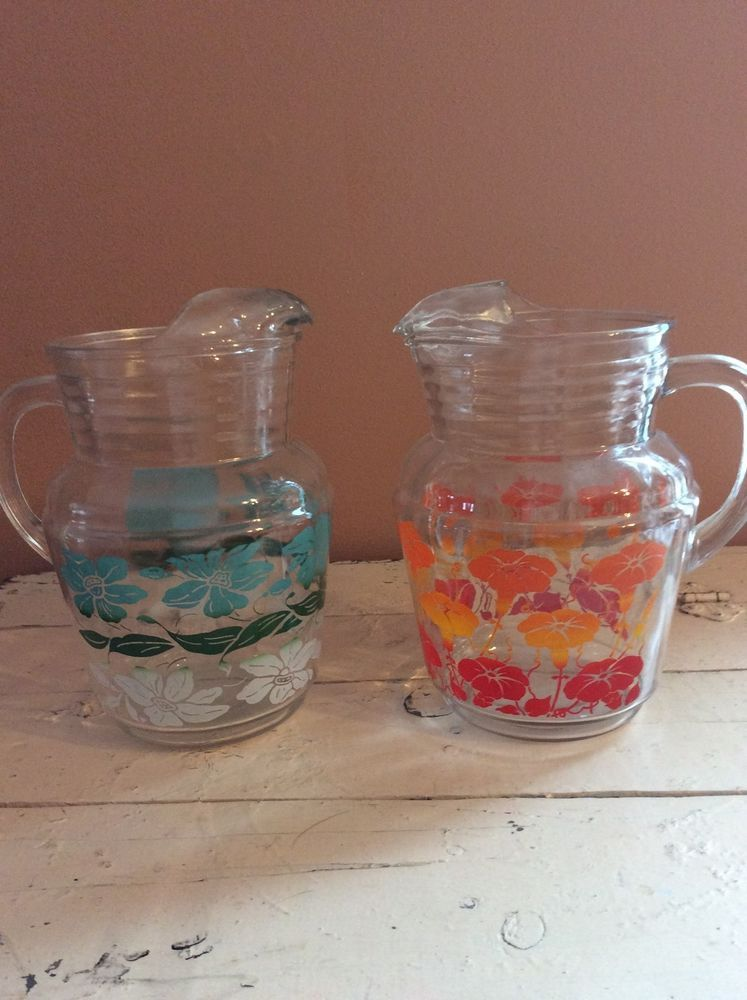 2 Vintage 50 S Floral Flowers Glass Pitcher Ice Lip Ribbed Orange Red Blue White Red Orange Red And Blue Floral Flowers