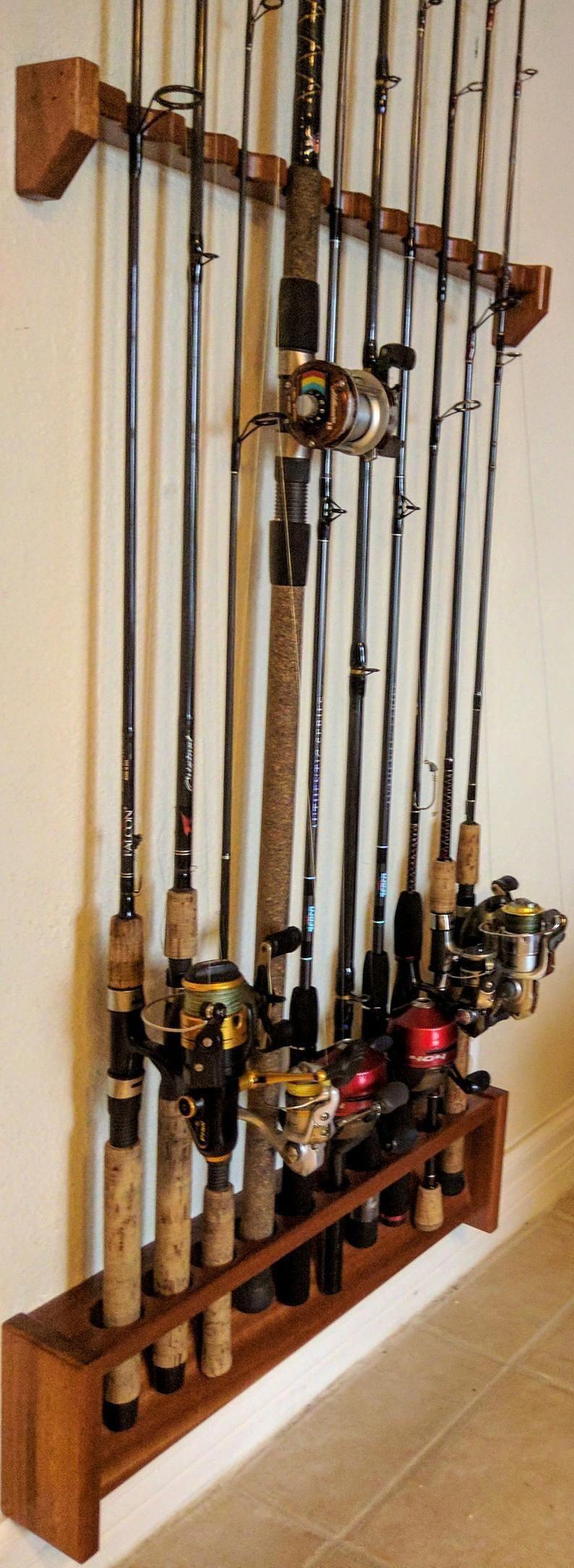 Fishing Rod Holder Wall Mount Horizontal Storage Organizer Holds Up to 8 Durable