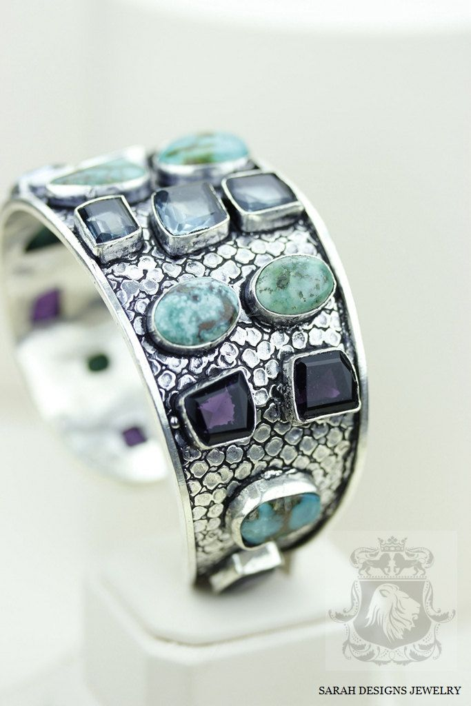 VINTAGE Antique Design! Tibetan #TURQUOISE Aquamarine Amethyst 925 #Solid #Sterli,  View more on the LINK: http://www.zeppy.io/product/gb/3/233916845/