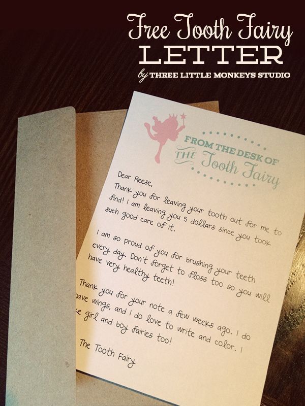 Free tooth fairy letter by three little monkeys studio for Free printable tooth fairy letter template