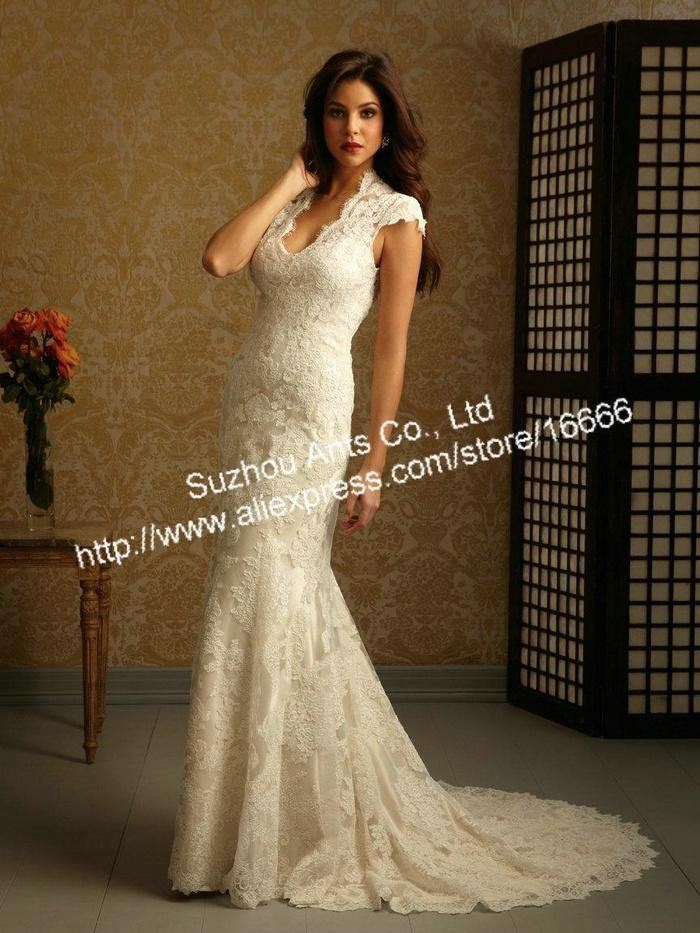 Free Shipping 2013 Gorgeous Elegant Style Cap Sleeves Backless Mermaid Lace  Wedding Dress Gown Open Back Keyhole Back CW155-in Wedding Dress. 008c48fb2078