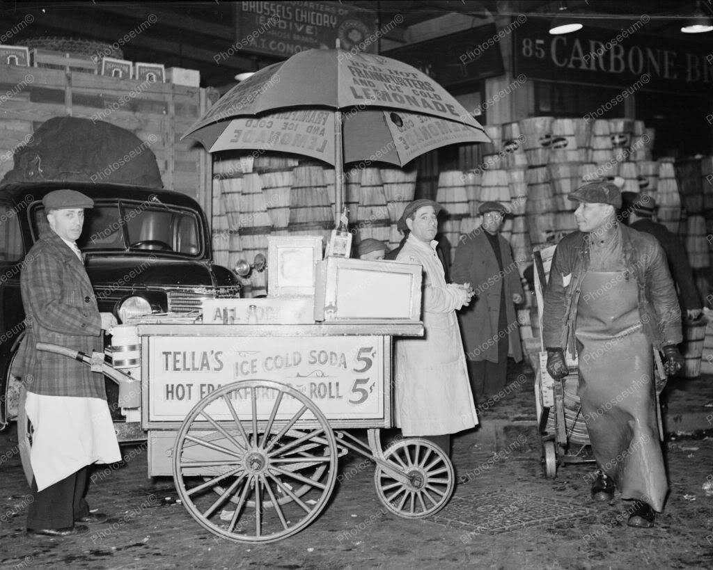 Hot dog stand new york city 1930 vintage 8x10 reprint of