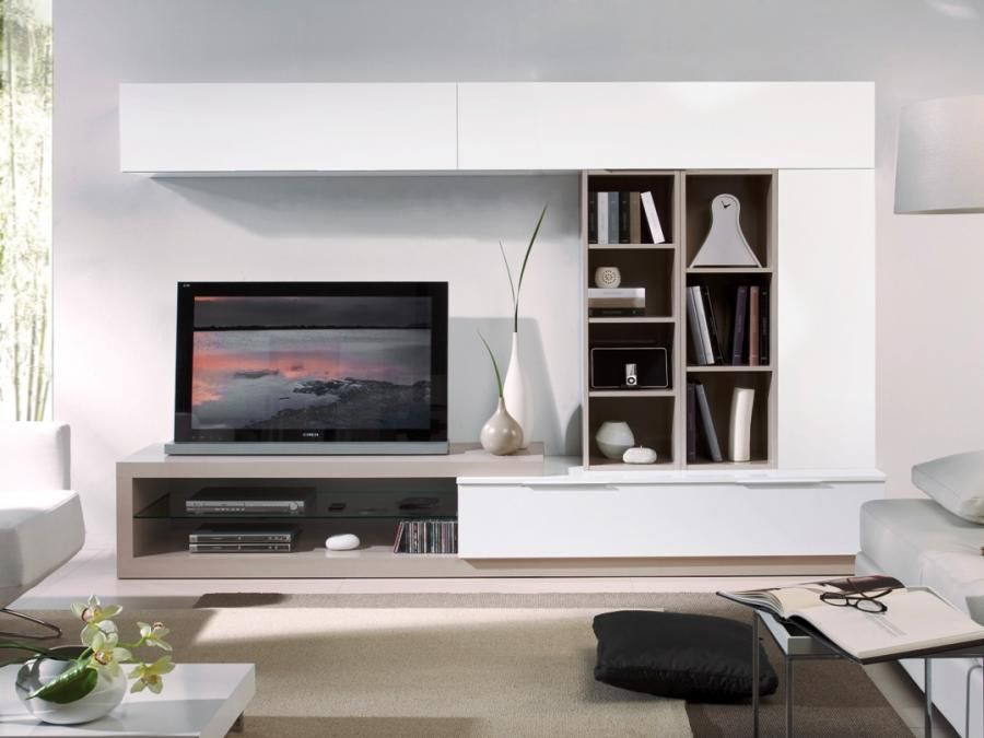 Room White Wall Storage System With Beige Or Features