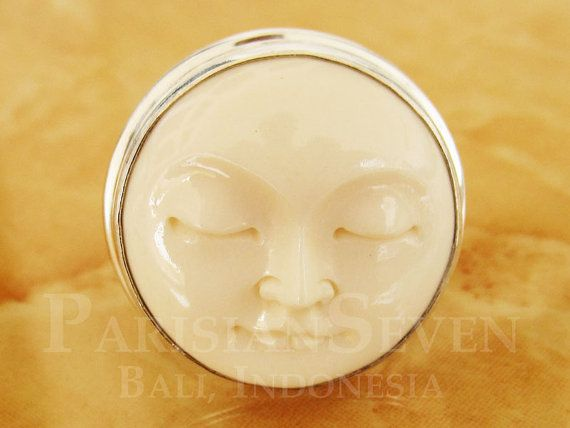 Moon Face Cow Bone Carving Love This Bali Sterling Silver Cow Bones Bone Carving