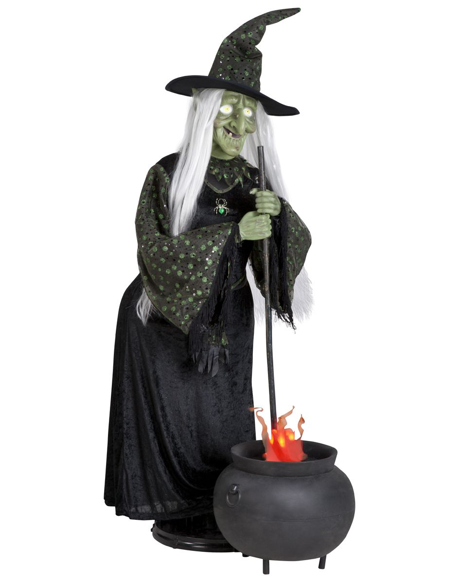 animated life size witch with flaming cauldron | halloween