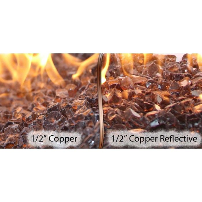 1 2 Copper Fire Glass Vs 1 2 Copper Reflective Fire Glass American Fireglass Fire Glass Gas Firepit Copper