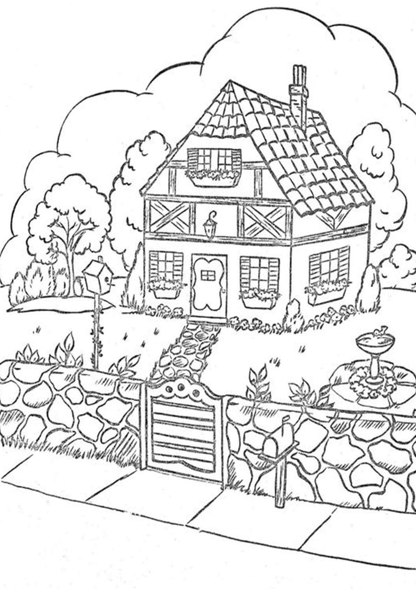 Free Easy To Print House Coloring Pages House Colouring Pages Coloring Pages Coloring Books