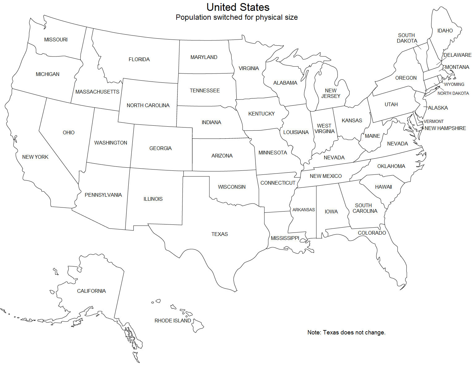 Population Switched For Physical Size Texas Is The Only