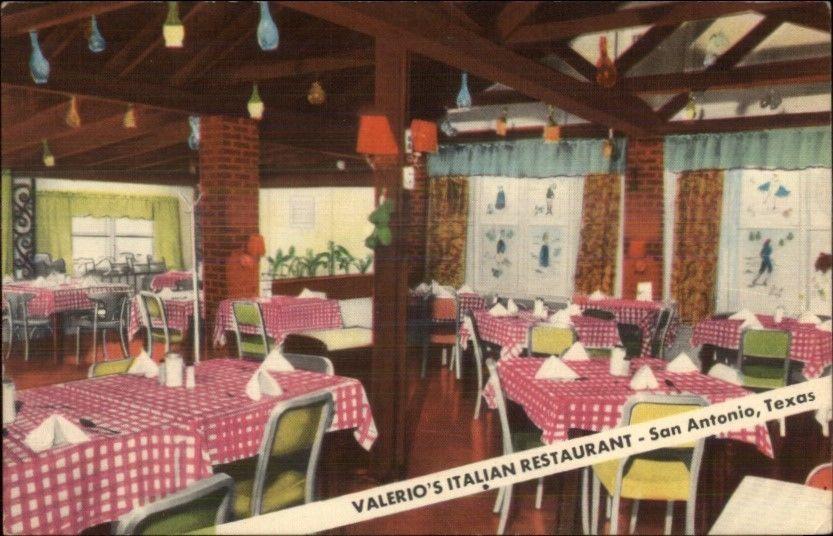 San Antonio Tx Valerio S Italian Restaurant Postcard Vintage Restaurants Interiors