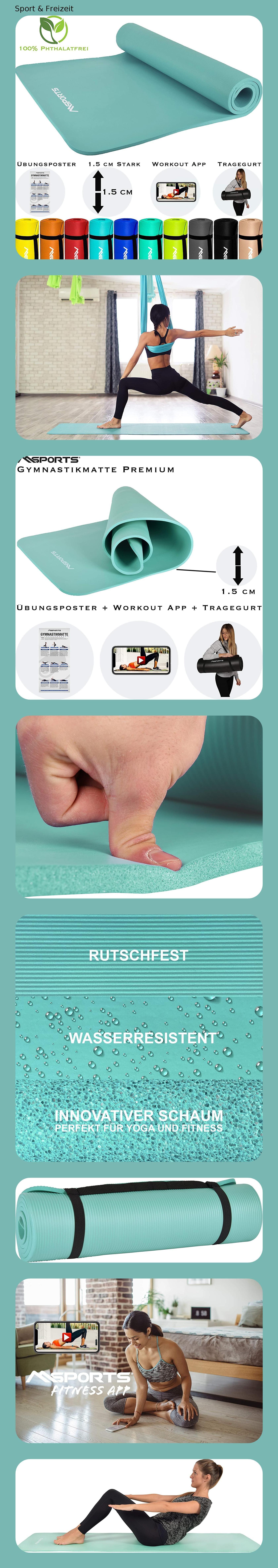 /Übungsposter Workout App I Hautfreundliche Fitnessmatte 190 x 60 versch MSPORTS Gymnastikmatte Premium inkl Farben Phthalatfreie Yogamatte 80 oder 100 x 1,5 cm Tragegurt
