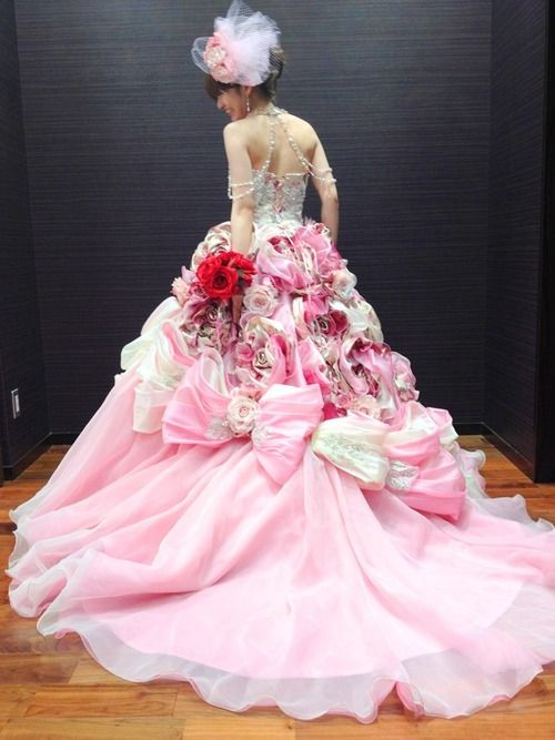 pink wedding dress pink wedding dress- wow!! This is really cool! I love that pink! :)