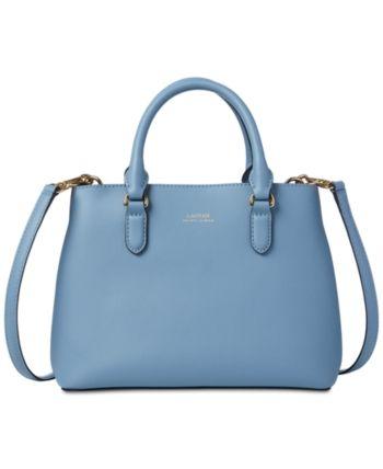 1aa8ba556f Lauren Ralph Lauren Dryden Marcy Ii Leather Satchel - Blue Mist ...