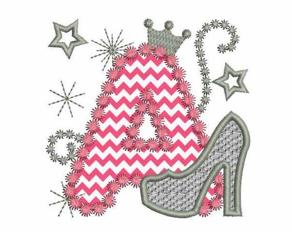 Pink Silver Letter A High Heel Shoe for Cute Girls Applique