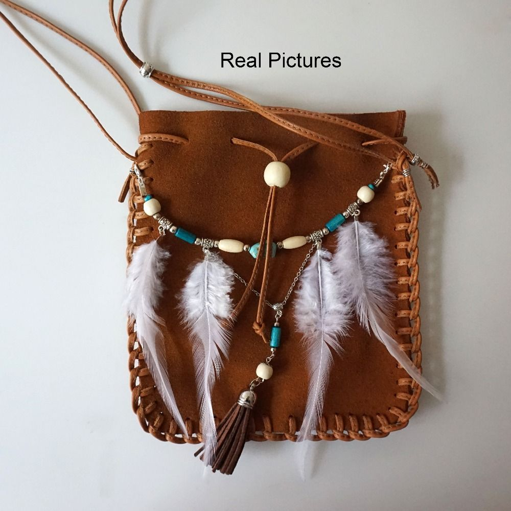 Handmade 2016 Feathers Hippie Leather Beaded Small Real Brown Bag I4IRr6q