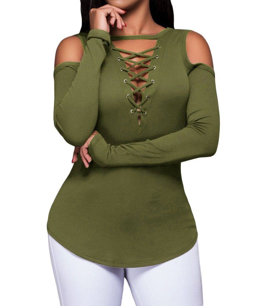 a656465a9bf231 Army Green Long Sleeve Cut-out Shoulder Ribbed Top – Kamille and Co.