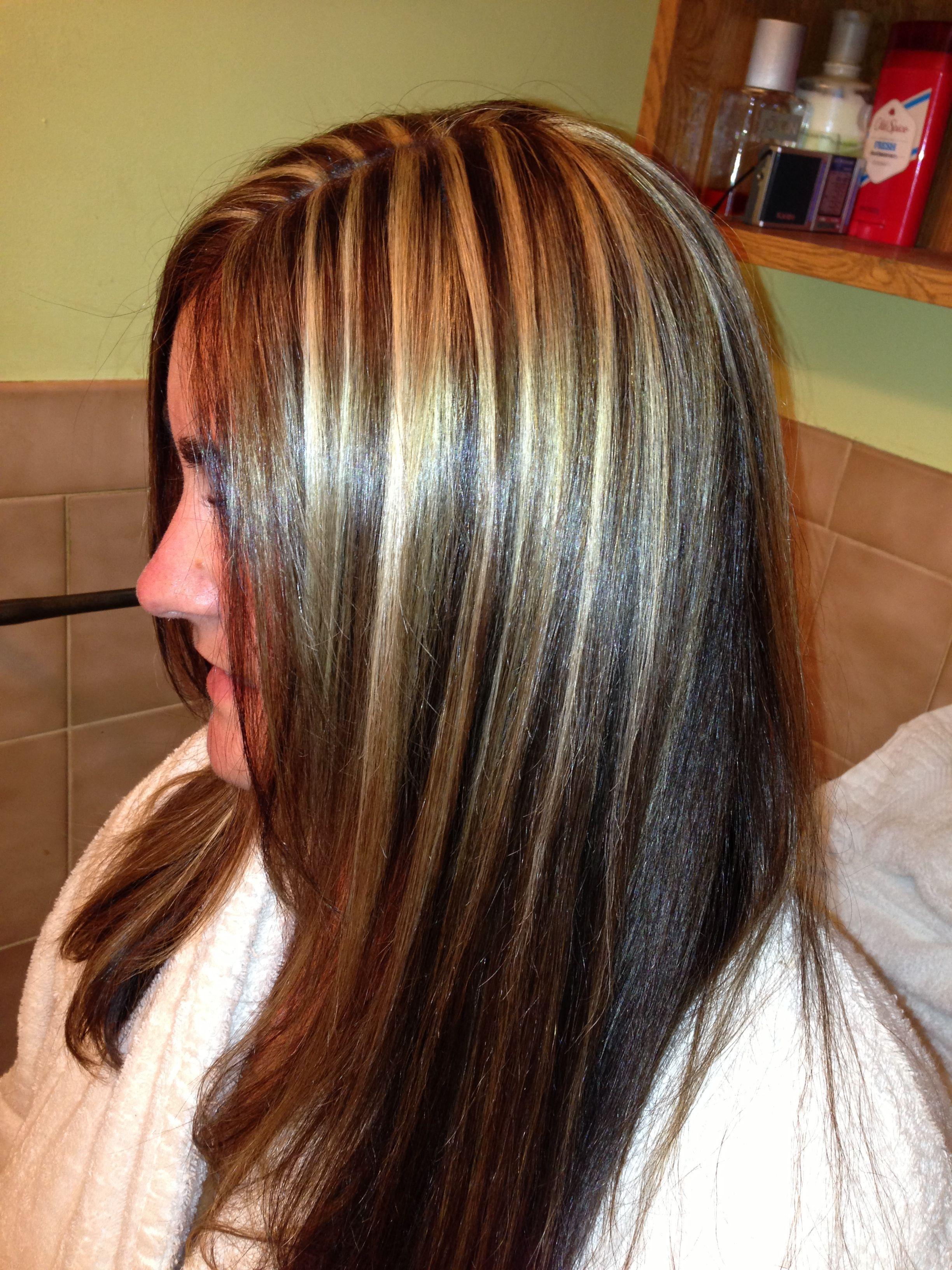 Dark brown hair with blonde highlights hair me pinterest dark