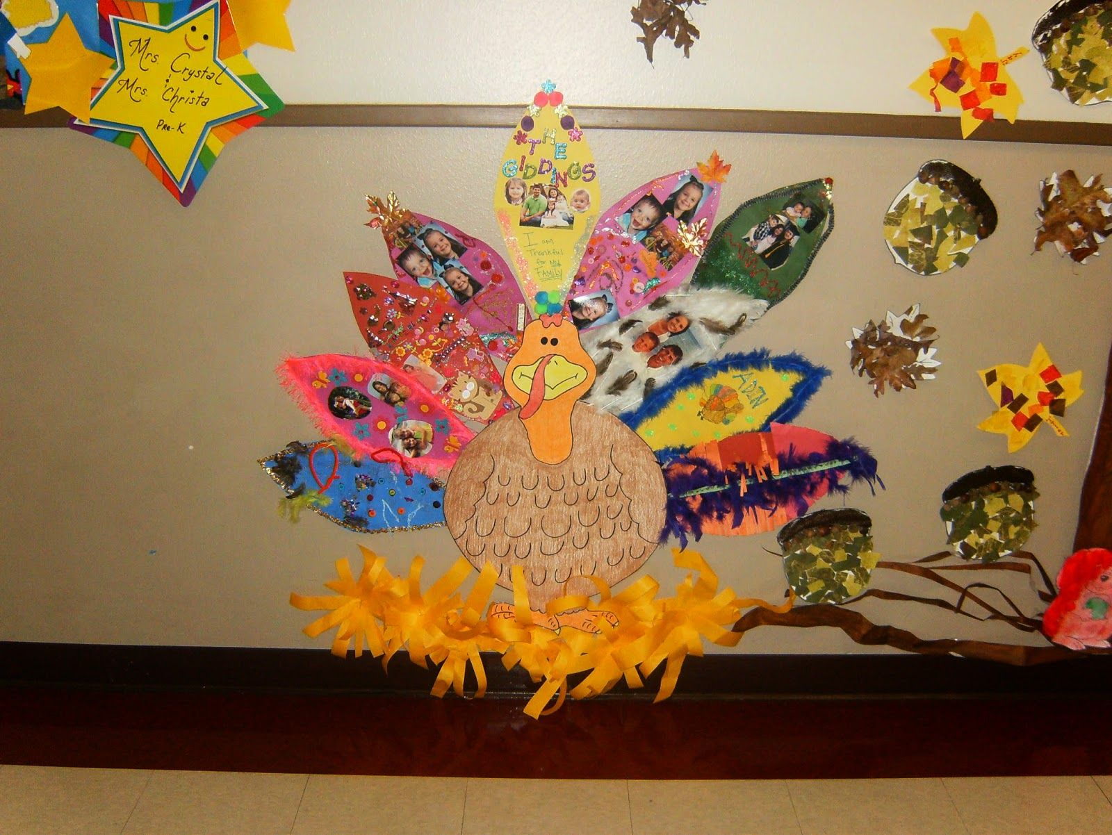 Preschool thanksgiving turkey tail feather family project