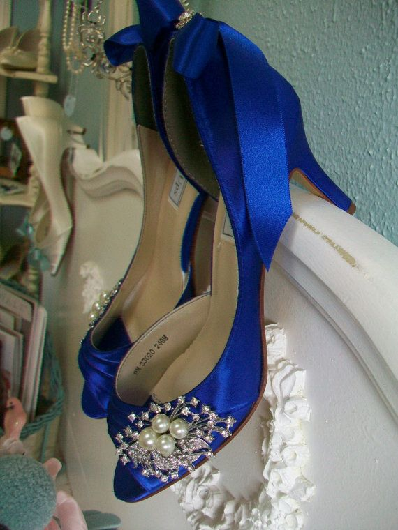 Blue Wedding Shoes Peep Toe Heels Pearls And by Parisxox on Etsy