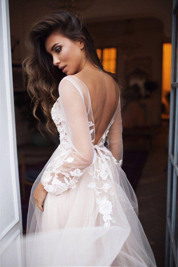 "Bohemian wedding dress long sleeve ""Tara"" , open back wedding dress , bell sleeves, floral wedding dress, 3d flowers"