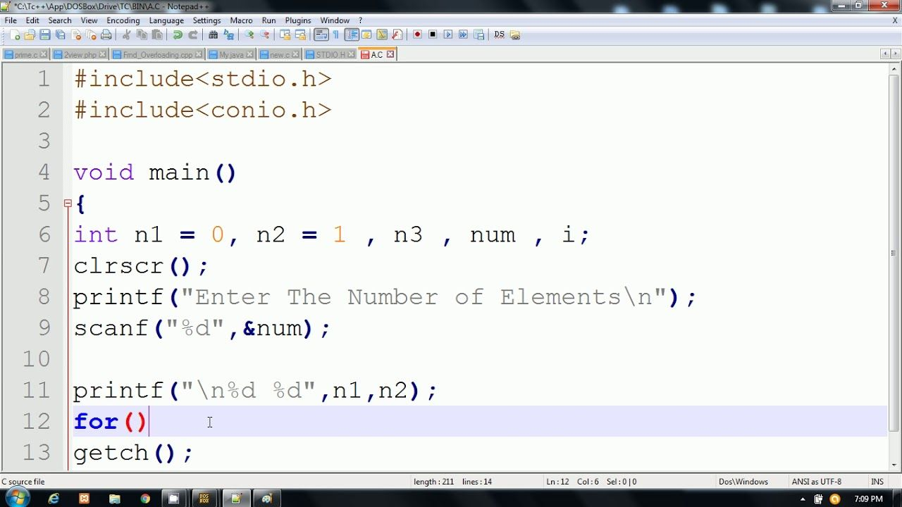 Fibonacci Series Program in C Language | Hindi | programming ...