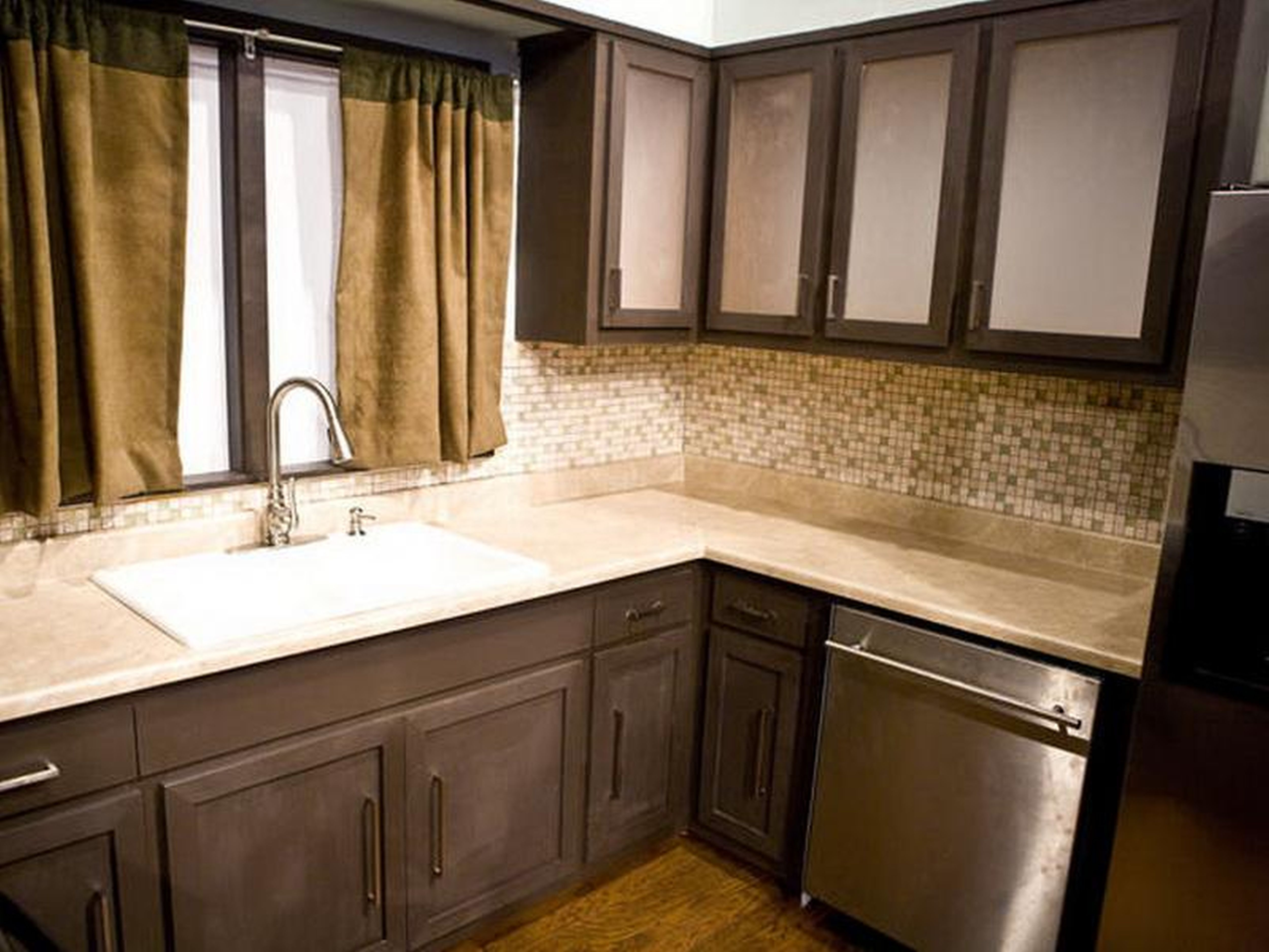 Top Cabinets To Lighten Small Kitchen Cabinets Kitchen Countertops Kitchen Cabinets
