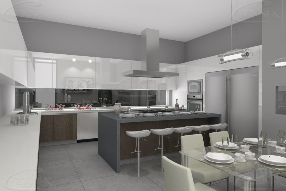 Tonos gris y blanco en cubierta isla y mueble texturizado for Cocinas modernas en gris y blanco