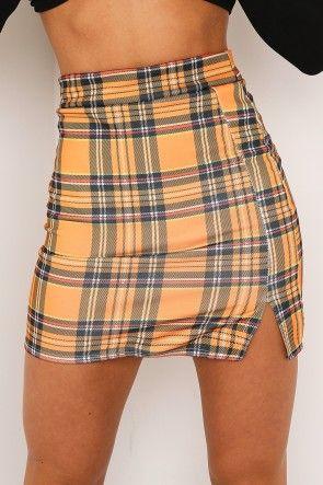 fef98ceee1c0 Orange Tartan Side Split Mini Skirt | Clothing in 2019 | Fashion ...