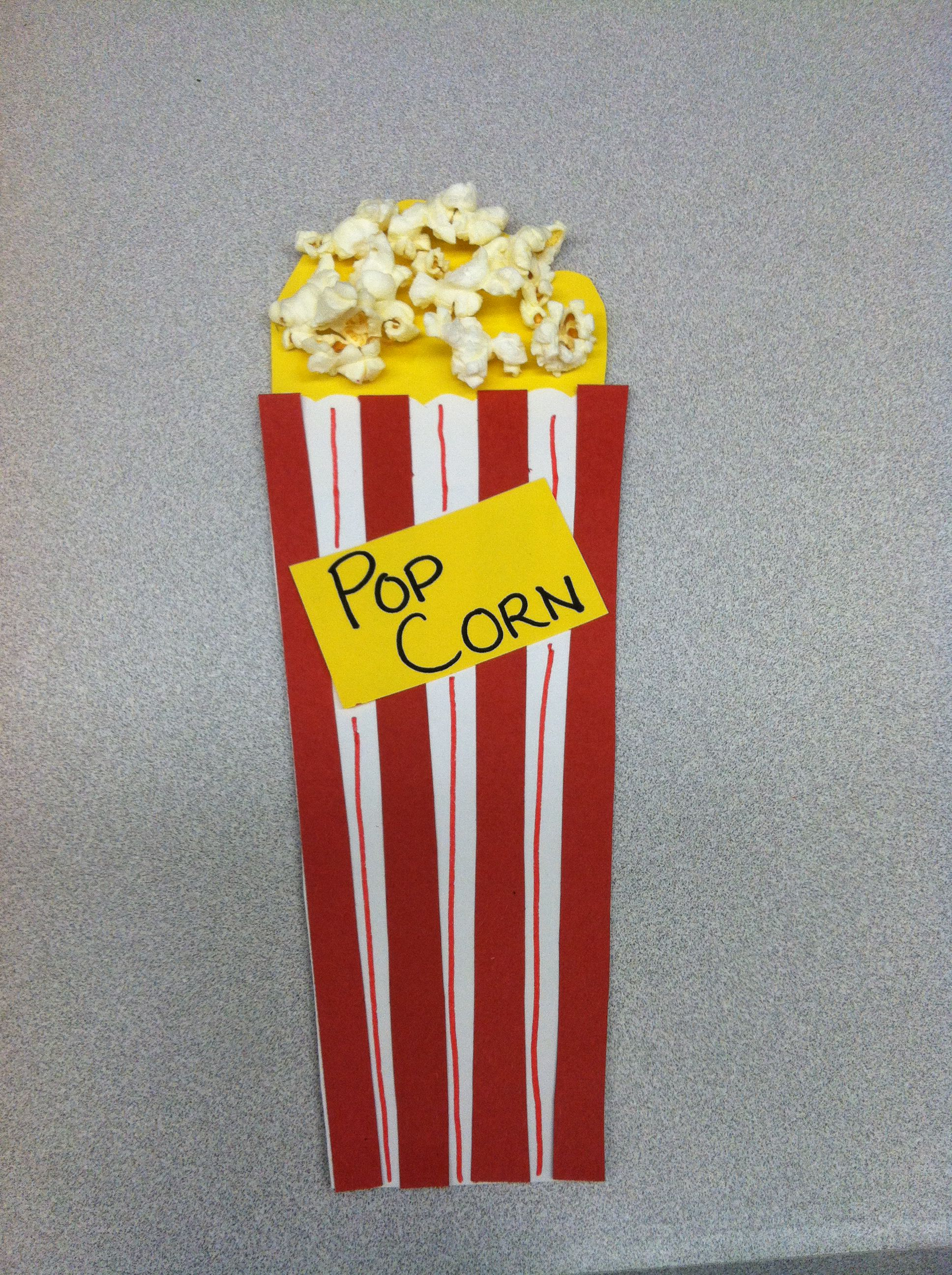 Red And White Construction Paper Print Out Pop Corn Words
