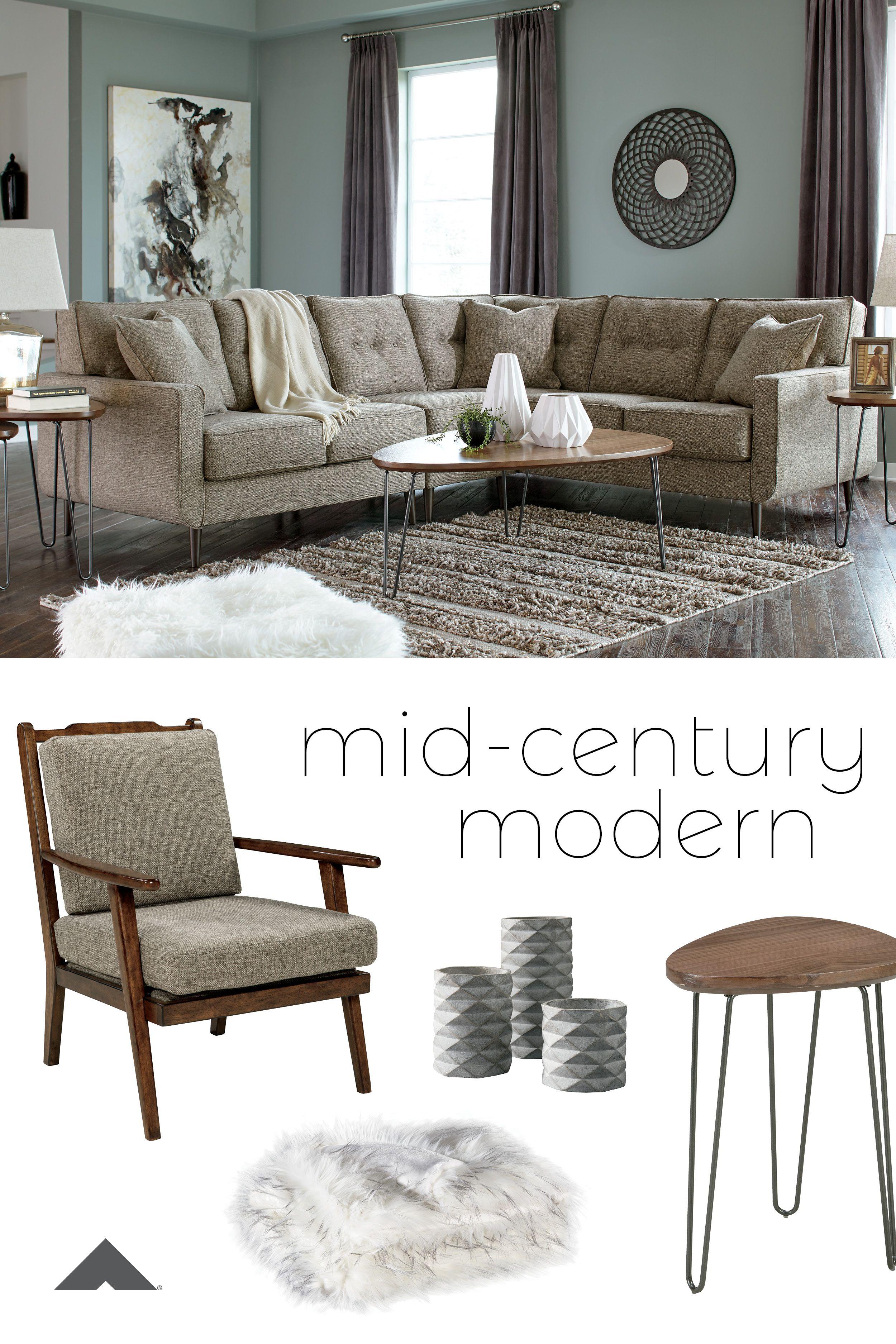 Darha Jute Sectional Mid Century Modern Living Room Ashley