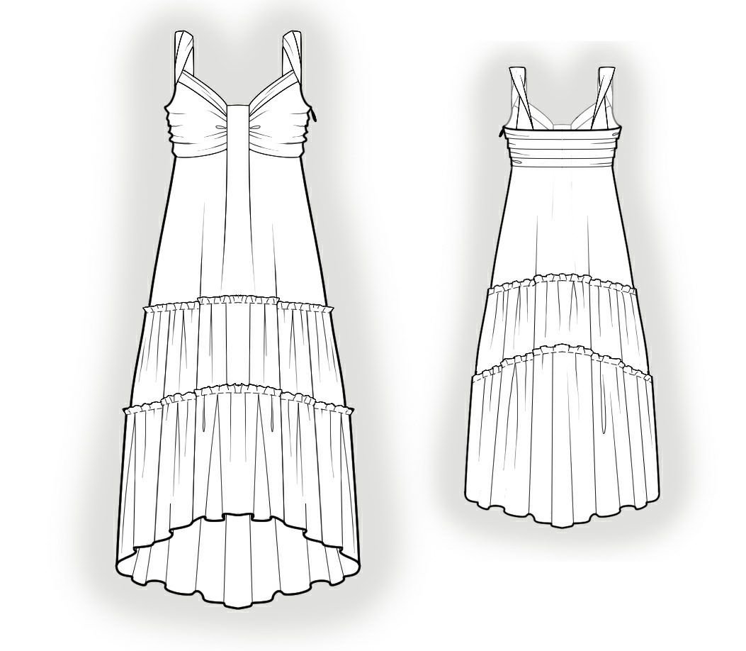 Summer Dress With Flounces - Sewing Pattern #4016 Made-to-measure ...
