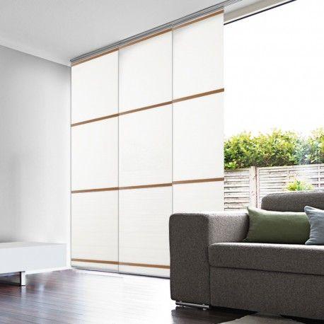 panneau japonais tamisant blanc barre bois clair panneau japonais decoration interieure deco maison