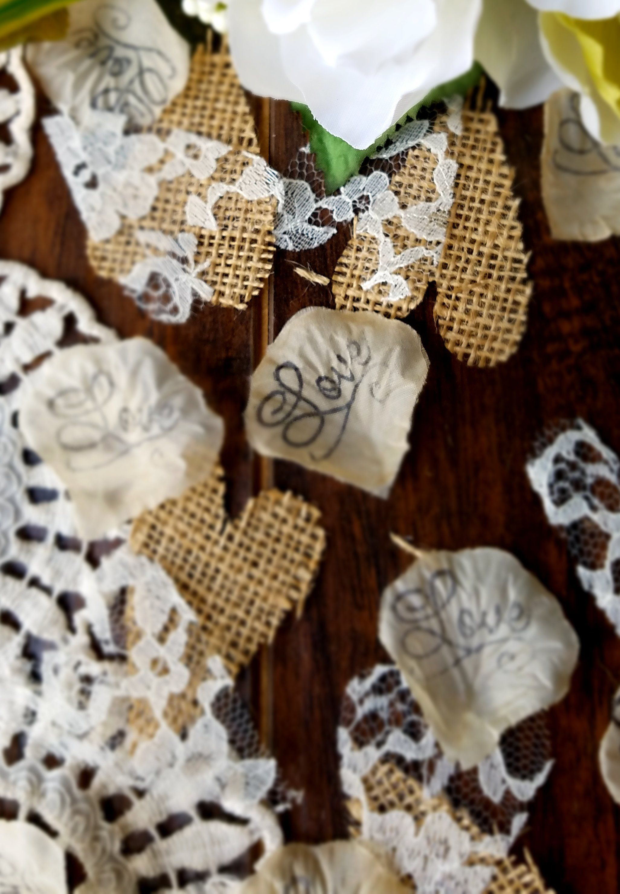 Rustic Wedding Decor Burlap And Lace Confetti For Tables Or