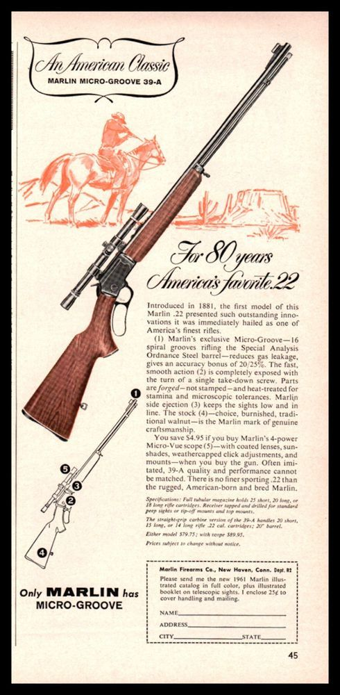 Marlin Model A Lever Action  Rifle Ad Vintage Firearms