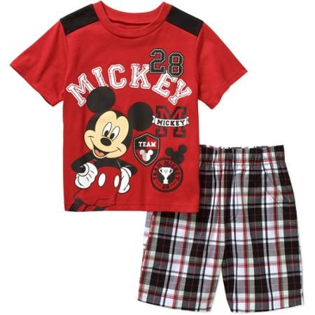Mickey Mouse Toddler Boys Varsity Tee and Shorts Outfit
