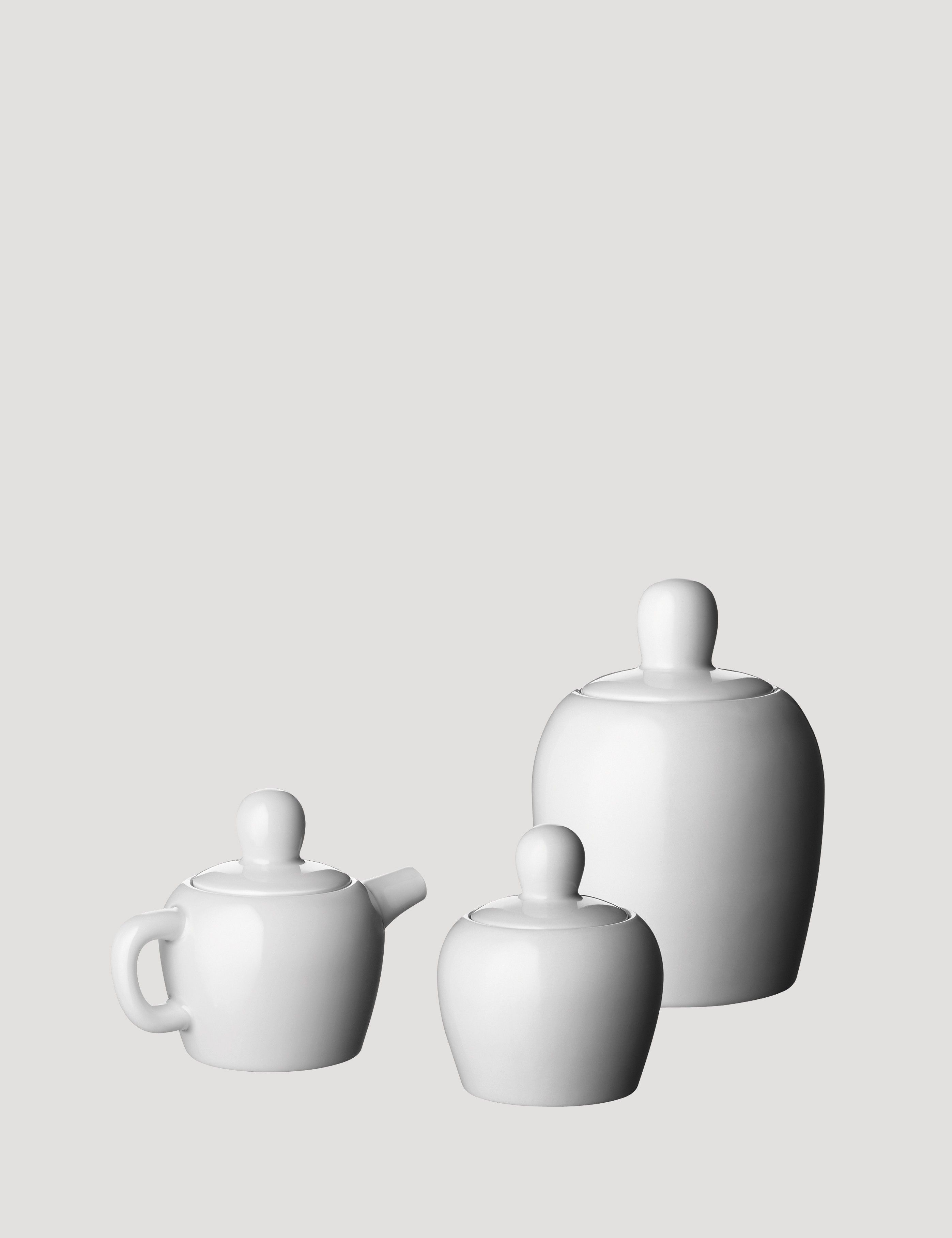 Bulky plays with proportion and shape to create a tea set that adds fun and lightness to the kitchen or table setting. Made from porcelain, the playful design concept is inspired by children's fairy tales. The Bulky tea set consists of a tea pot, tea cup, sugar bowl, milk jug and cookie jar.