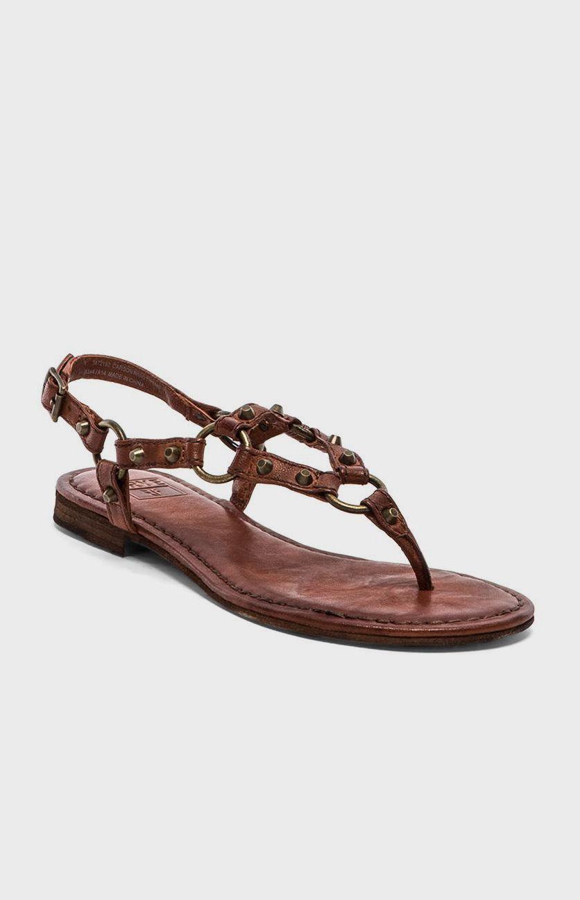 Frye Carson Ring Thong Sandal In Cognac Mean Shoe Game