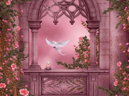 Heaven garden - wings, garden, dove, arch, beautiful, pink ...