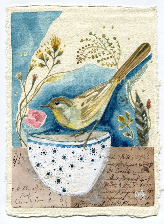 Original Mixed Media Garden Bird Artwork A Brighter Day Bird