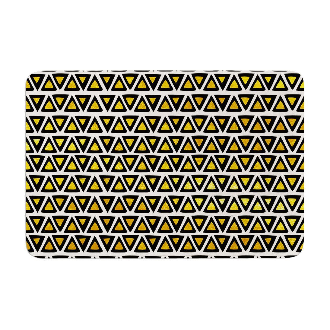 "Pom Graphic Design """"Aztec Triangles Gold"""" Yellow Black Memory Foam Bath Mat"