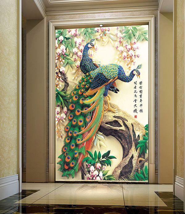 tapisserie asiatique en effet basrelief les deux paons sur l 39 arbre avec les fleurs de. Black Bedroom Furniture Sets. Home Design Ideas